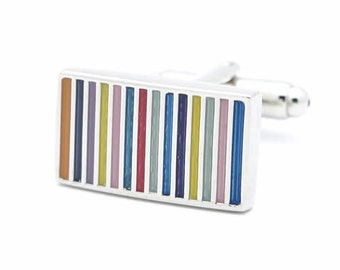 Multi Color Stripe Cufflinks