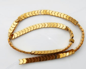 6mm gold coated hematite chevron shape  beads FULL STRAND