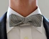 Men's Bow Tie in Gray and Pink Pinstripe- freestyle slim grey wedding groomsmen custom bowtie neck self tie cotton white stripes