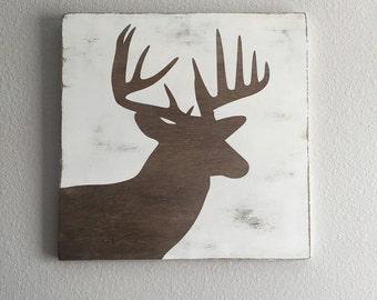 Deer Head Silhouette Wood Sign
