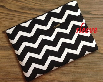 personalized SLEEVE cover for ipad / ipad mini / kindle / nook / samsung - black white chevron