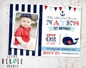 Whale INVITATION Birthday Party Preppy Whale Nautical Invitation Anchor Printable for with banner bunting. First Birthday or any age