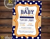 Navy Blue and Orange Baby Boy Shower Invitation - Chevron and Polka Dots Boy's Shower #1063