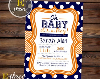 Printable Baby Boy Shower Invitation - Navy and Orange Boy's Shower Invite - Chevron and Polka Dots #1063