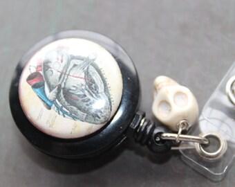 Vintage Style Anatomical Heart Sugar Skull Badge Holder Retractable Badge Holder
