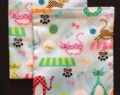 Sandwich Bag, Party Favor Bag, Reusable Lunch Bag, Mama Cloth Wet Bag, Kitty Bag, Cats