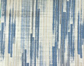 Blue Poly Cotton Stripes Fabric By The Yard Curtain Upholstery Panel Drapery
