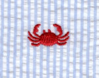 Fabric Finders Embroidered Crab on Blue Seersucker Cotton Fabric