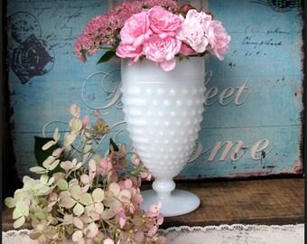 Vintage Milk Glass Hobnail Goblets/ Wedding Vase Centerpiece/ Shabby Chic Vase