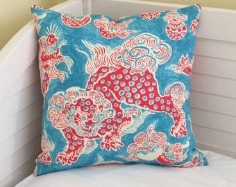 Waverly Dunmore Dragon in Persimmon Linen Designer Pillow Cover - Square, Euro, Lumbar and Body Pillow Cover