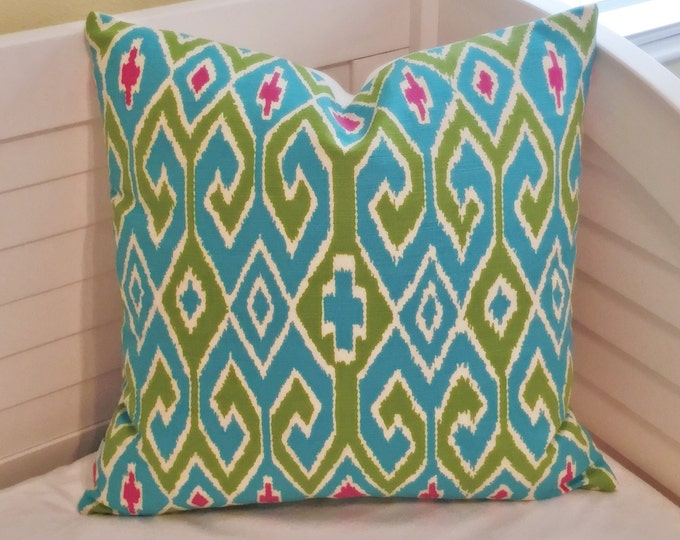 Quadrille China Seas Aquarius in Turquoise/Jungle Green/Pink Designer Pillow Cover - Square, Euro and Lumbar Sizes