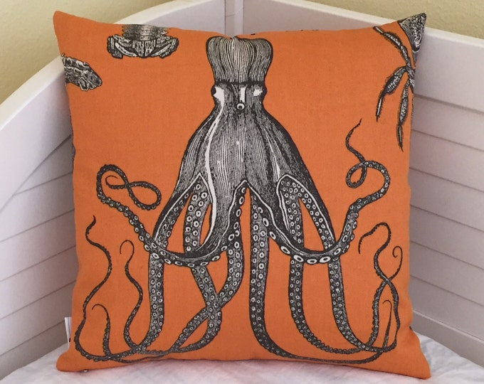 Thomas Paul for Duralee Adriatic in Papaya Octopus Design Indoor Outdoor Designer Pillow Cover - Square and Euro Sizes