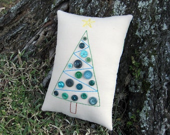 Christmas Tree Pillow, VINTAGE BUTTON Tree, Sea Green Aqua Blue, Holiday Decor, Primitive Embroidery Pillow Tuck, Original Design, HAFAIR