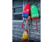 Colorful Fishing Buoys hanging on the side of a Boat House in Maine No.033 - A Fine Art Seascape Nautical Still Life Photograph
