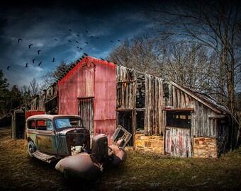 Forlorn Abandoned Rundown Farm Homestead with Rusty Vintage Auto No.1460 A Fine Art Auto Landscape Photograph