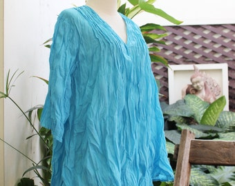 Comfy Cotton Blouse - Sky Blue