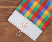 60% OFF Winter SALE White Linen iPad Case with colorful squares print pocket. Padded Cover for iPad 1 2 3 4. iPad Sleeve Bag.