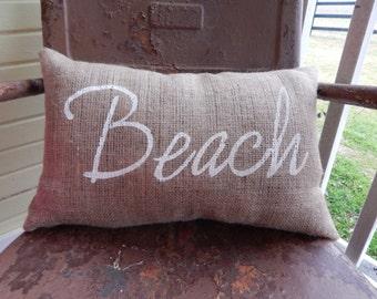 BEACH Burlap Pillow Throw Pillow Accent Decor Summer Beach Nautical Theme Teen Room Custom Colors Available