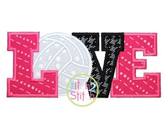 Volleyball Love 2 Applique Design For Machine Embroidery INSTANT DOWNLOAD now available