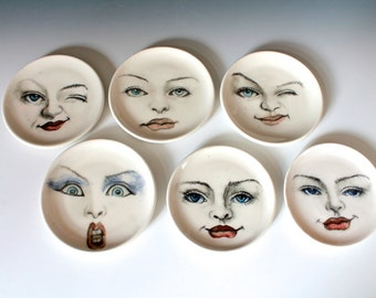 Porcelain Ring Dish, Unique Women Face Plate, Gifts for Bridesmaids, Wedding Gift