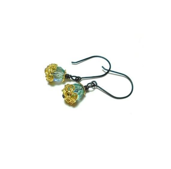CLEARANCE, Teal Earrings, Crystal Earrings, Dangle Earrings, Small Dangle Earrings, Hand Forged Earrings, Mixed Metal Jewelry, Bead Earrings