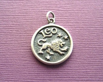 Sterling Silver Leo  Zodiac  Sign Medallion Pendant Charm