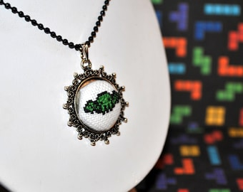 Cthulhu Micro Cross-Stitch - Pixel Point Pendant Necklace