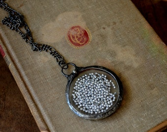 Real Pocket Watch Crystals, Moving Silver Beads, Vintage Watch Jewelry, Statement Necklace, Shaker Necklace, Floating Pendant (2148)