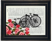 BOGO 1/2 OFF Dictionary Art Prints Sheet Music Bicycles with Flowers  A HHP Original Concept and Design Steampunk Art Prints Wall Art
