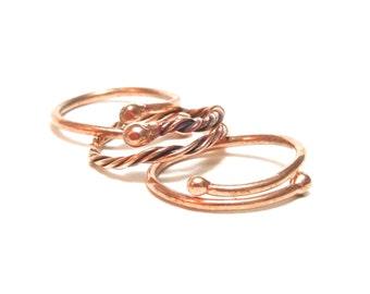 Copper Rings, Set of 3 rings, Women Ring, Men Ring, Adjustable, Ready To Ship,