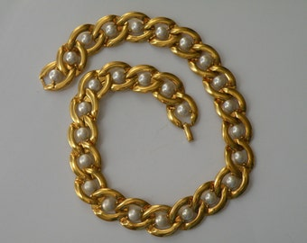 "NAPIER gold plated faux pearls necklace. 16"" long."