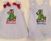 Boys Very Hungry Caterpillar birthday shortall and matching dress, twins, brother sister matching set