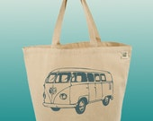 Canvas Tote Bag-Large Carry All Recycled Organic Tote-Vintage Van-Classic Cars-Car-VW Van