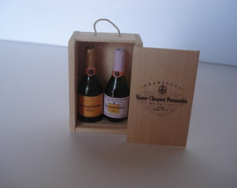 Miniature 2 Champagne bottles in wooden box