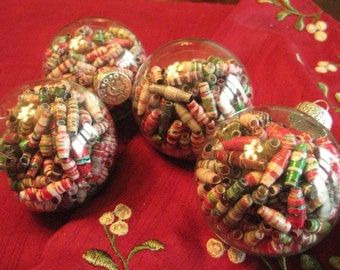 Red & Green Paper Bead Ornaments