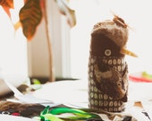 Jessy bird , soft art  creature textile totem  by Wassupbrothers, brown chocolate,natural tones, bird  coffee lover