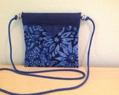 "Blue Batik Flowers Quilted Snap Bag Purse Handbag Handmade 6"" x 5-3/4"""