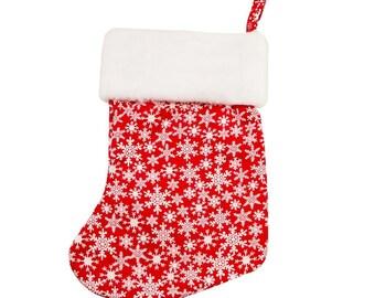 Crimson Snowflake Christmas Stocking