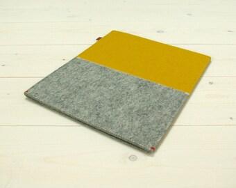 "Ipad Pro 10.5"" / 9.7"" / 12.9"" CASE felt sleeve case in mustard yellow grey for Ipad Pro / free shipping"