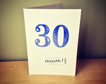30th Birthday Card hand stamped with retro style numbers x  personalised with name or phrase of your choice.