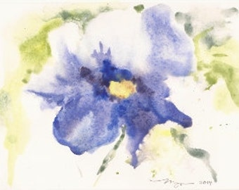 "Blue Flower, Original Watercolor Painting 6""x9"""