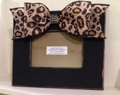 5x7 Frame in Black with Cheetah burlap bow