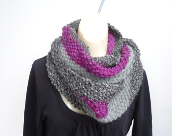 Hand Knit Striped Infinity Scarf Cowl Chunky Tweed Luxe Soft Warm Luxury Purple Grey