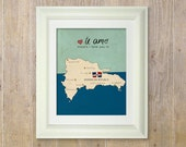 I Love You in Dominican Republic // Typographic Print, Map, Giclee, Kids Baby Nursery, Illustration, Spanish Language, Travel Theme, Digital