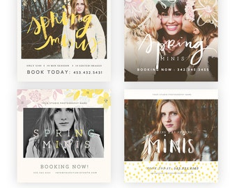 Blossoming Spring 5x5 Marketing Templates  INSTANT DOWNLOAD