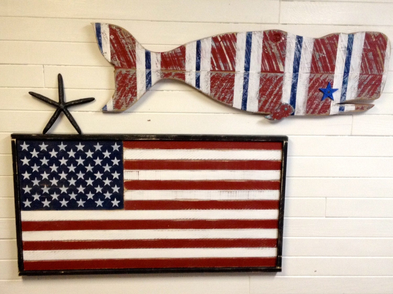 Chandeliers pendant lights American flag wood wall art