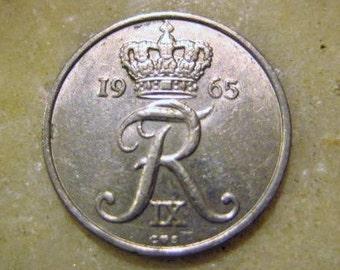 Denmark Danmark 10 Ore Coin 1965
