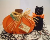 HALLOWEEN Fall Pumpkin and Black Cat
