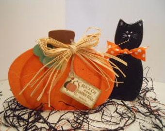 HALLOWEEN Fall Pumpkin and Black Cat