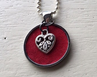 Red leather heart necklace